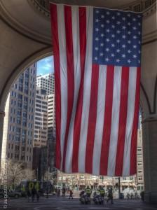 USA flag in Boston